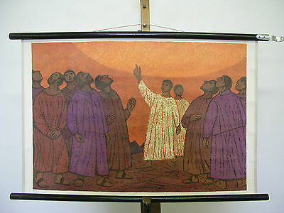 Nice Old Wall Picture Bible Patmos 23 Christ Ascension 77x50cm Vintage~1964