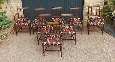 Superb set of 8 antique dining chairs with Charles Rennie Mackintosh seat covers