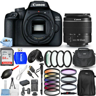 Canon EOS 4000D / Rebel T100 with 18-55mm Lens + 64GB + Extra Battery Bundle