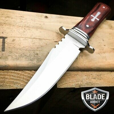 "8"" STAINLESS STEEL CELTIC CROSS HUNTING KNIFE WOOD HANDLE Gothic Skinning -H"