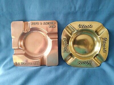 Unusual Copper Advertising Ashtray Rope & Anchor Rum J.j. Walsh Ltd +1 Brass One