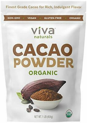 Viva Naturals #1 Best Certified Organic Cacao Powder From Superior 1 LB Bag