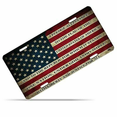 Zone Tech USA Flag License Plate American Patriotic Pledge of Allegiance Steel
