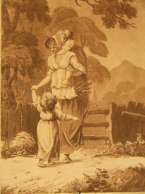 Antique sepia aquatint etching; signed; William Wynne 1800's