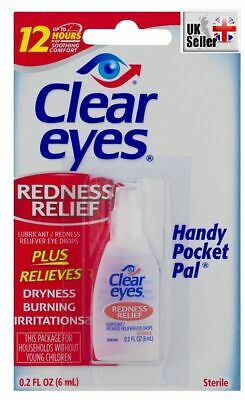 UK seller CLEAR EYES Redness Relief eye drops burning dryness 6ml 0.2 oz