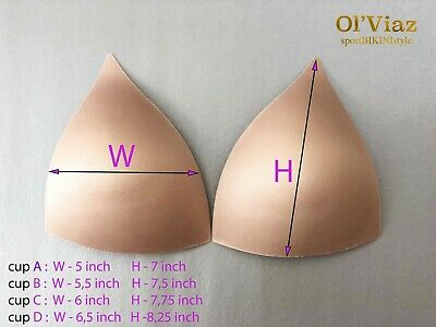 1 Pair Molded Bra Cup/Stiff Foam Triangle Push Up/Competition Bikinis