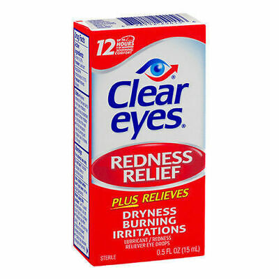 UK seller CLEAR EYES Redness Relief eye drops burning dryness 15ml 0.5 oz.