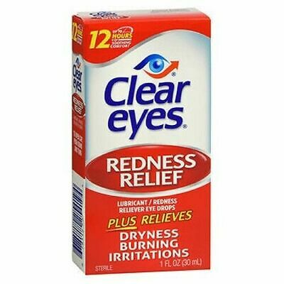 UK Large Size CLEAR EYES Redness Relief  eye drops dryness burning 30ml 1 oz.