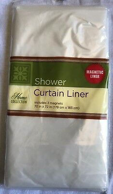 """Clear Standard Size 70"""" X 72"""" Waterproof Plastic Shower Curtain Magnetic Liner"""