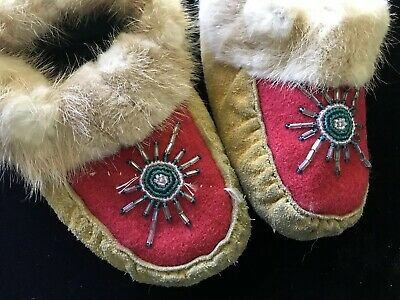 Antique Vintage Child Moccasins Leather Red Wool Beads #A42