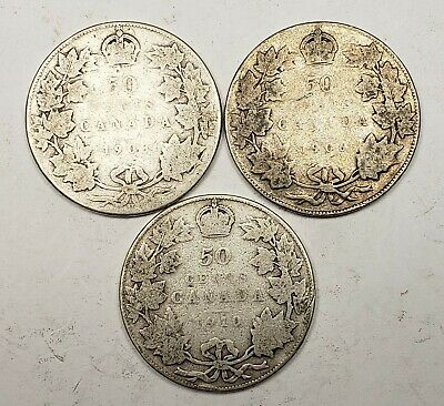Canada 1903 H 1906 1910 Silver 50 Fifty Cents 3 Different Coin Lot