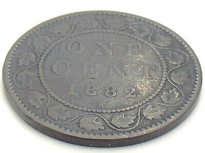 1882 H C2 Canada One 1 Cent Large Penny Copper Circulated Victoria Coin K051