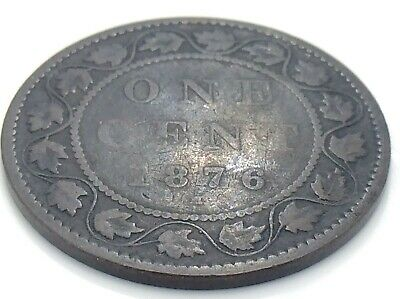 1876 H Canada One 1 Cent Large Penny Copper Circulated Victoria Coin K052