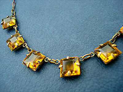 DAINTY ART DECO NECKLACE WIRED OPENBACK SQUARES Scalloped Chain VINTAGE 1930s