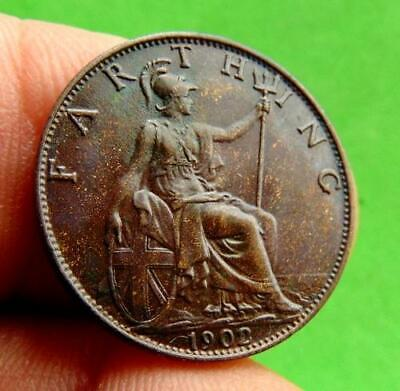 DEEPLY  TONED  UNC  EDWARDIAN  * 1902 *  FARTHING  1/4d.....LUCIDO_8  COINS