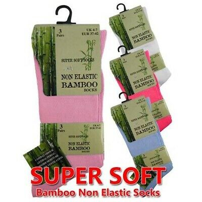 Ladies Girls Quality Bamboo Super Soft Non Elasticated Anti Bacterial Socks 4/7