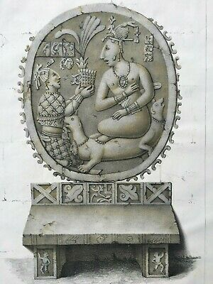 Mexican Pre-Columbian1805 antique print Stone carved Mayan volcano eruption