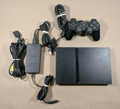 Sony Playstation 2 PS2 Slim Black Console System Bundle Controller + Memory Card