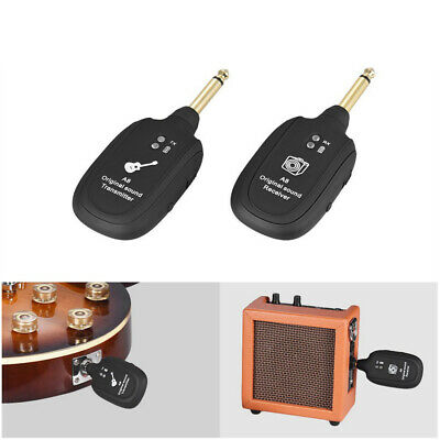 UHF Wireless Guitar Transmitter Receivers System  Bass Violin Audio Rechargeable