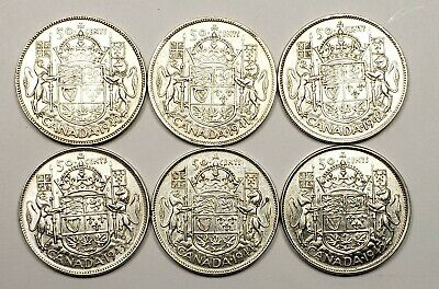 Canada 1940 1941 1942 1943 1944 1945  Silver 50 Fifty Cents 6 Different Coin Lot