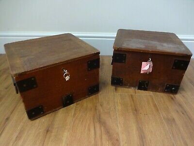Antique Vintage Bank Wooden Boxes (Possibly Deed Boxes/Cash Box) x2