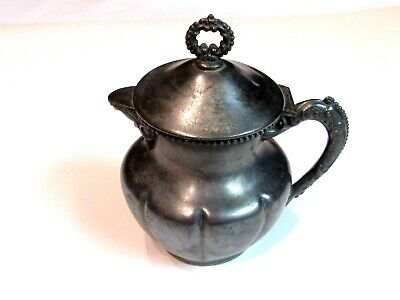 Colonial Silver Co Quadruple Silver Plated Lidded Creamer Pitcher Portland ME