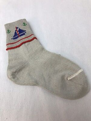 Vintage Babe LeRoi Infant Socks Grey Sailboat Sz 5 Mercerized Cotton New Jandrey