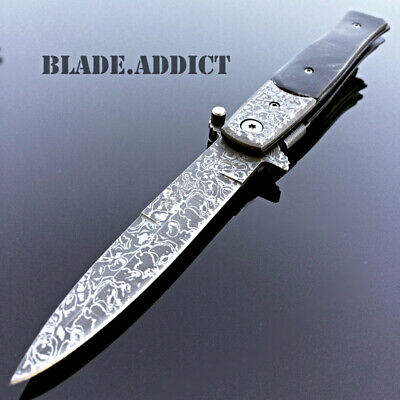 """8"""" TAC FORCE Italian Milano Damascus Stiletto Spring Assisted Pocket Knife -M5"""