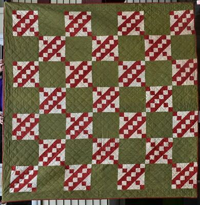 """Antique """"Jacob's Ladder """" Quilt in Green and Red Calico, #18325"""