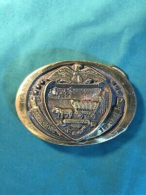 Vintage Oregon Statehood 1859 The Union Commemorative Solid Brass Belt Buckle