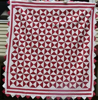 "Red and White ""Pinwheel Star"" Antique Quilt. Multiple Borders, #18565"