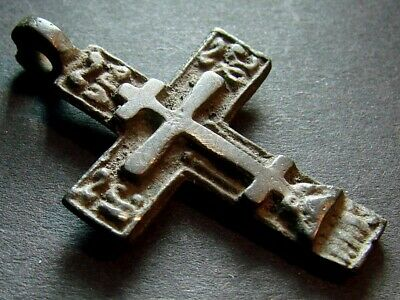 ANCIENT BRONZE CROSS RARE. RELIGIOUS ARTIFACT 16 - 17 CENTURY. 38 mm. (R.014)