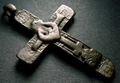 ANCIENT BRONZE CROSS RARE. RELIGIOUS ARTIFACT 17-18 CENTURY. 55 mm. (F.114)