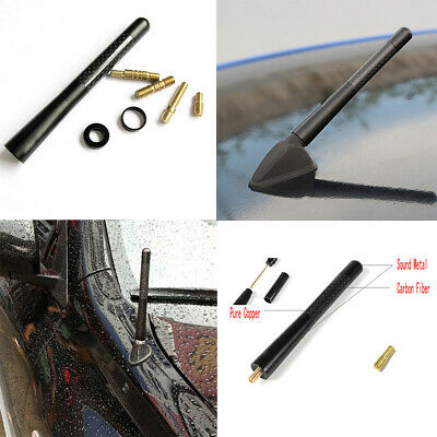 4.7 inches Universal Car Antenna Carbon Fiber Radio FM Antena Black +Screw Kit