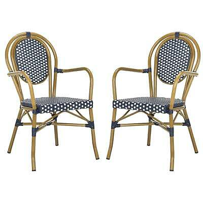 Outdoor French Bistro Chairs Patio Backyard 2 Set Furniture Cafe Style Vintage