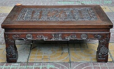"""9"""" Old Chinese Huanghuali Wood Hand-Carved bat 福 word Statue Ancient Tables Desk"""