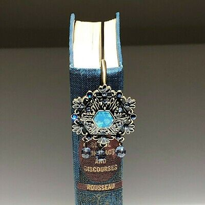 Vintage Book Marker with Austrian Crystals & Metal Details, Gift/ Collectible