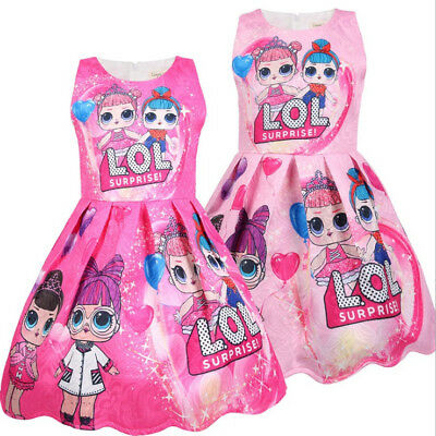 Girls Cartoon Lol Surprise Doll Princess Dress Kids Party Pageant Birthday Dress