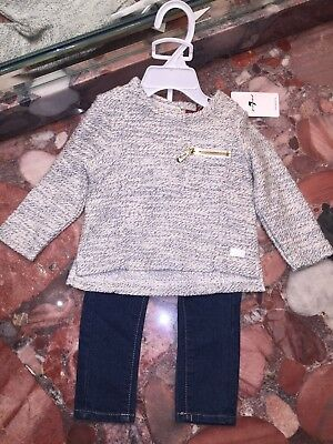 NWT 7 for All Mankind Baby Top Jeans Denim Pants Outfit 2pc Set Girl's 12 Months