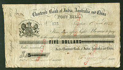 SINGAPORE Chartered Bank of India Australia and China POST BILL 1st March 1859