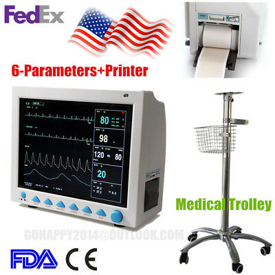USA ICU vital signs Patient monitor medical stand rolling trolley cart+printer