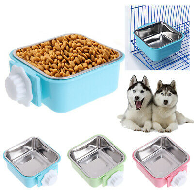 1xHang-on Bowl Metal Pet Dog Cat Crate Cage Food Water Bowl Stainless Steel