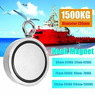 Round Double Sided Super Strong Neodymium Fishing Magnet Detector Kit 160-700KG