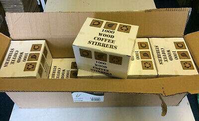 "JOB LOT (10K) - BIRCHWOOD COFFEE STIRRERS - 5.5""/140mm - 10 BOXES OF 1000 PIECES"