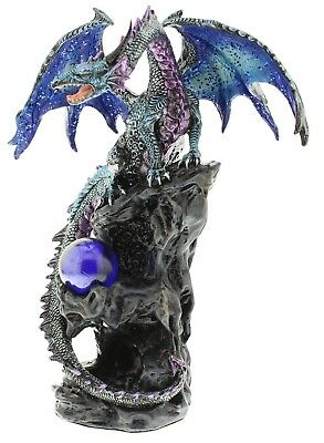 Juliana Large Multi Colour Dragon Sitting on a Rock With Crystal Ball 24cm High