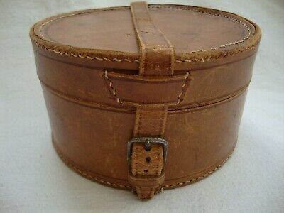 Antique Leather Country House Gentleman Circular Collar Box Case Holder Prop