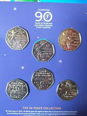 2019 Isle Of Man Peter Pan Six Coin Collection 50p Pence Sealed Pack