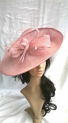 Girly Pink Sinamay Hatinator.hat.Large saucer disc Wedding.races.