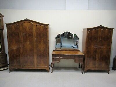Antique Burr Walnut 5 Piece Bedroom Suite Triple Wardrobe Double Wardrobe Beds