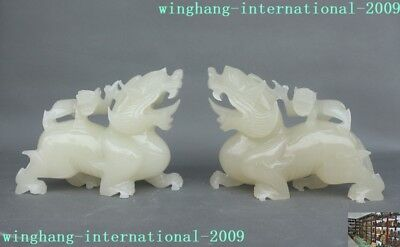 China White jade stone carved wealth Mother&Kids Brave troops Pixiu statue Pair